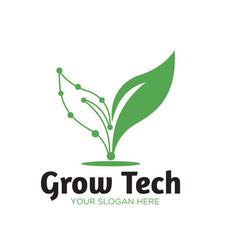 Green tech natural logo designs vector