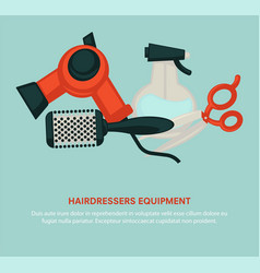 hairdresser equipment beauty salon poster vector image