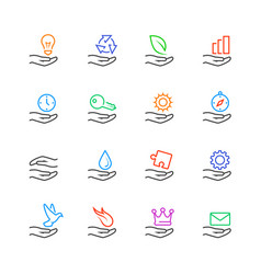 Hand and object concept icons set in line style vector