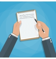 Hand holding notebook and pen vector