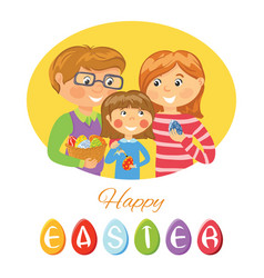 Happy easter card with family decorating eggs vector