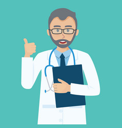 happy senior doctor shows thumbs up gesture cool vector image