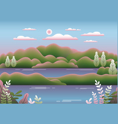 hills landscape in flat style design beautiful vector image