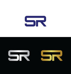 Initials with letter S and letter R vector image