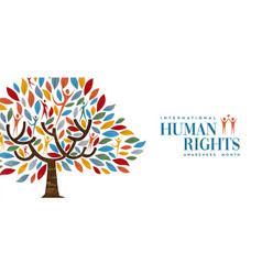 International human rights month of people tree vector