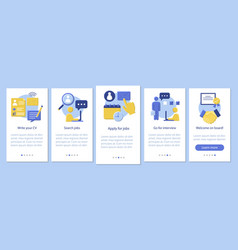 Job search onboarding mobile app page screen vector