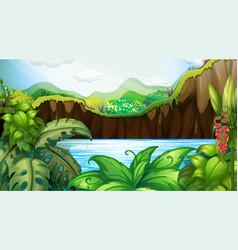 Jungle outdoors background scene vector