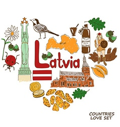 Latvian symbols in heart shape concept vector