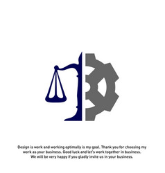Law firm with gear logo design template law firm vector