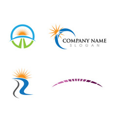Logo template sun over horizon vector