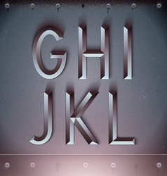 Metal Embossed Font from G to L vector