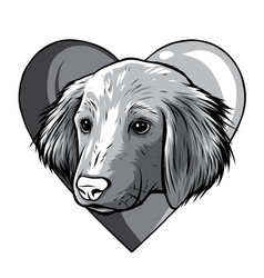 monochromatic i love dogs icon vector image
