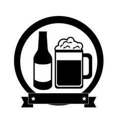 monochrome emblem with beer bottle and glass vector image