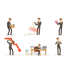 Office worker failures and losses bankruptcy vector