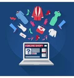 Online shopping concept in flat design e-commerce vector