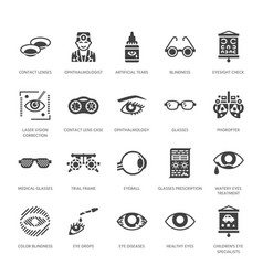 Ophthalmology eyes health care glyph icons vector