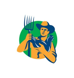 Organic Farmer Pitchfork Chicken Retro vector