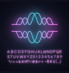 overlapping waves neon light icon voice recording vector image