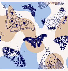 Pattern with hand drawn butterflies and moths vector