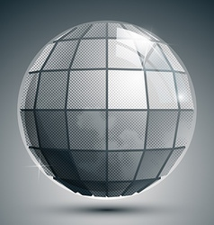 Plastic pixilated 3d spherical object grayscale vector image