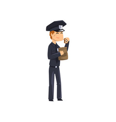 police officer eating donut policeman cartoon vector image