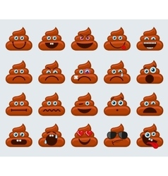 Poop emoticons smileys icons vector