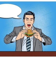 Pop Art Business Man Eating Tasty Burger at Work vector
