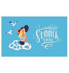 postcard template with woman wearing swimsuit vector image