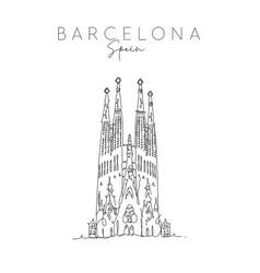 poster barcelona sagrada familia vector image
