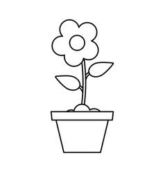 Pot flower garden thin line vector