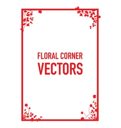 red floral corners background set vector image
