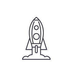 rocket launch line icon concept rocket launch vector image