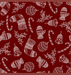 seamless pattern of white christmas symbols vector image
