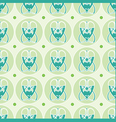 Seamless pattern with abstract green art nouveau vector