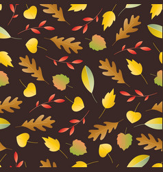 Seamless pattern with autumn colorful leaves vector
