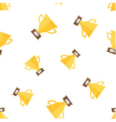 seamless pattern with gold winners cup vector image