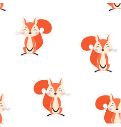 seamless pattern with squirrel vector image