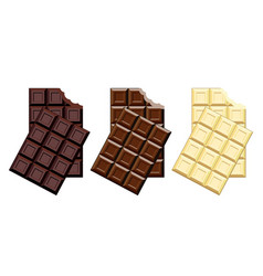 set chocolate bar pieces vector image