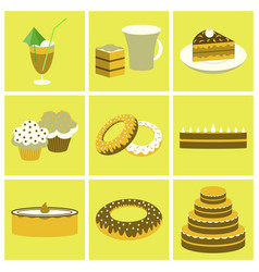 Set icons in flat design cakes desserts vector