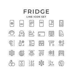 Set line icons fridge vector