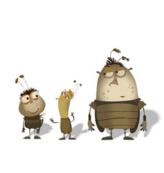 set of funny cartoon bugs vector image