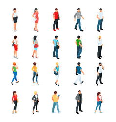 Set of isometric people modern young people vector