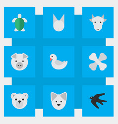 set of simple animals icons elements wolf turtle vector image