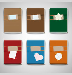 Six different colorful notebooks vector