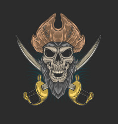 skull beard pirate king ocean vector image