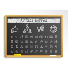 Social media hand drawing line icons chalk sketch vector