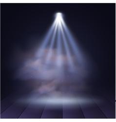 Spotlight disco illuminated wooden scene vector image
