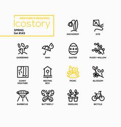 spring - modern line design style icons set vector image