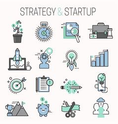 Startup and strategy outline web busines icon set vector
