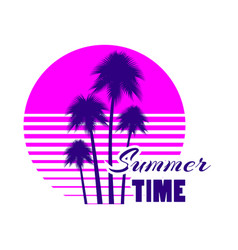 Summer time retro futuristic landscape with palm vector